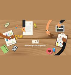 hcm human capital management team work together vector image