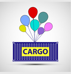 Icon freight container with balloons cargo vector