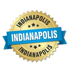 Indianapolis round golden badge with blue ribbon vector