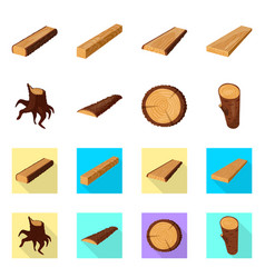 isolated object of tree and raw symbol collection vector image