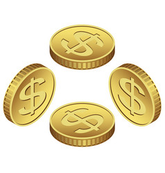 isometric golden icon of coin dollar vector image