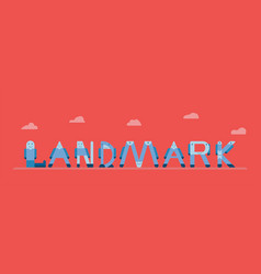 landmarks character in pattern of english vector image