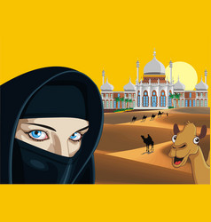 Landscape - an arab girl on the background of the vector