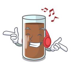 Listening music fresh chocolate splash on pouring vector