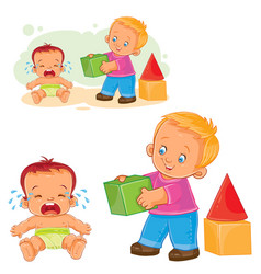 Little baby crying while an older brother wants vector