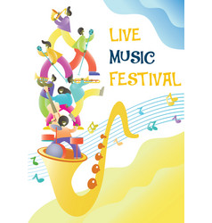 live music festival poster design template vector image