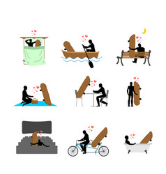Lover skateboarding set man and skateboard in vector