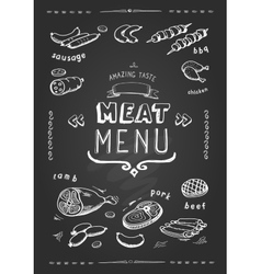 meat menu set meat symbols beef pork vector image