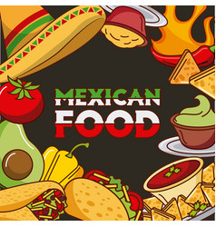 Mexican food card differents ingredients menu vector