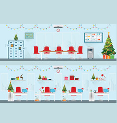 Modern interior of christmas office with office vector