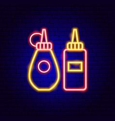 mustard ketchup neon sign vector image