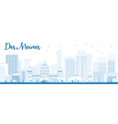 Outline Des Moines Skyline vector image