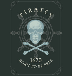 pirate banner with skull bones steering wheel vector image