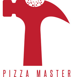 Pizza with hammer negative space design template vector