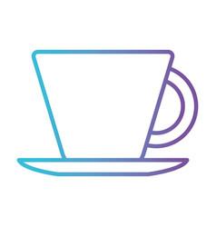 porcelain cup on dish gradient color silhouette vector image