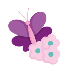 purple butterfly and flowers decoration isolated vector image