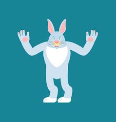 rabbit happy hare merry emotions animal joyful vector image