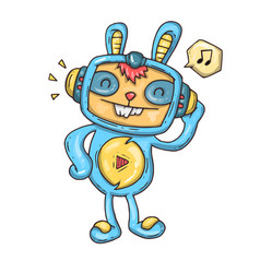 rabbit listening to music vector image