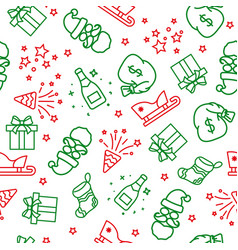 red and green light christmas seamless pattern vector image