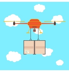 Red quadrocopter with cargo in the sky vector