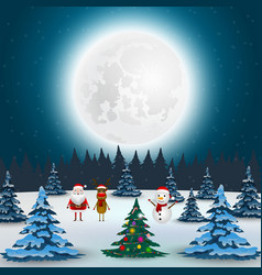 santa claus reindeer and snowman in forest vector image