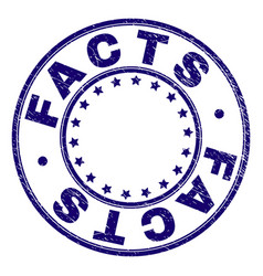 Scratched textured facts round stamp seal vector