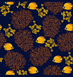 seamless pattern with corals fish and algae vector image