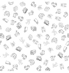 Seamless pattern with transports linear vector