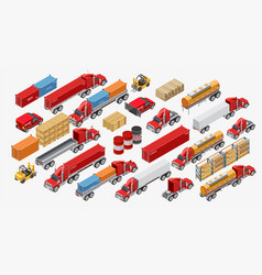 Set of freight trucks and goods vector
