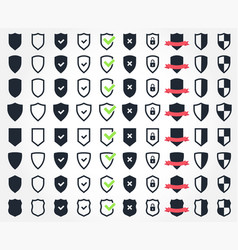 Shield icon set security and safety system icons vector