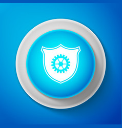 shield with gear icon isolated on blue background vector image