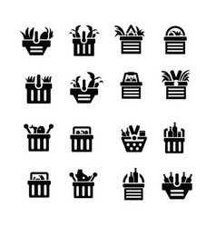 Shopping cart with foods icons vector