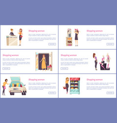 Shopping shops stores with luxury clothes vector