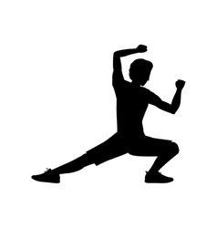 silhouette man martial arts kick down vector image