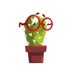 Smart cactus character with glasses in a clay pot vector