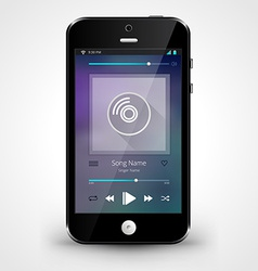 Smartphone with music player application vector