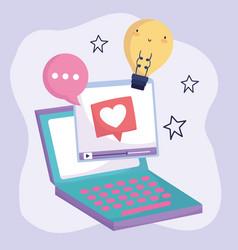 Social media laptop computer video speech bubble vector