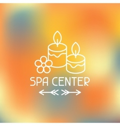 Spa center label on blurred background vector