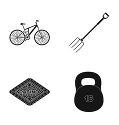 sports fitness and other web icon in black style vector image