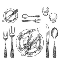 table setting drawing vector image