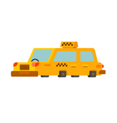 taxi isolated yellow car transportation of people vector image