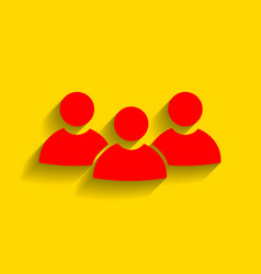 team work sign red icon with soft shadow vector image
