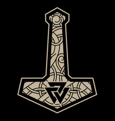Thors hammer - mjolnir and scandinavian vector