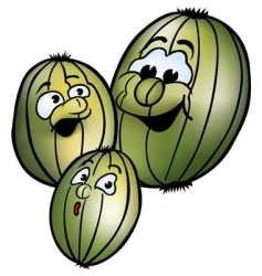 Three smiling gooseberries vector