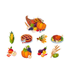 traditional symbols thanksgiving day set vector image