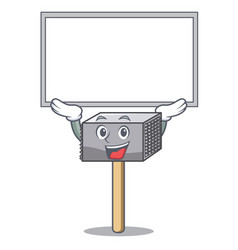 up board character of metallic meat tenderizer vector image
