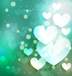 Valentine day heart background with bokeh effect vector