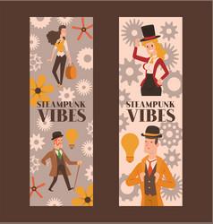 victorian people gentleman in hat and woman vector image