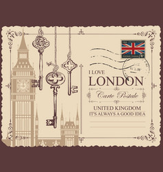vintage postcard with big ben and old keys vector image