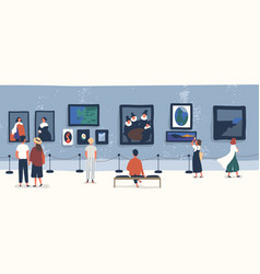 Visitors of classic art gallery or museum viewing vector